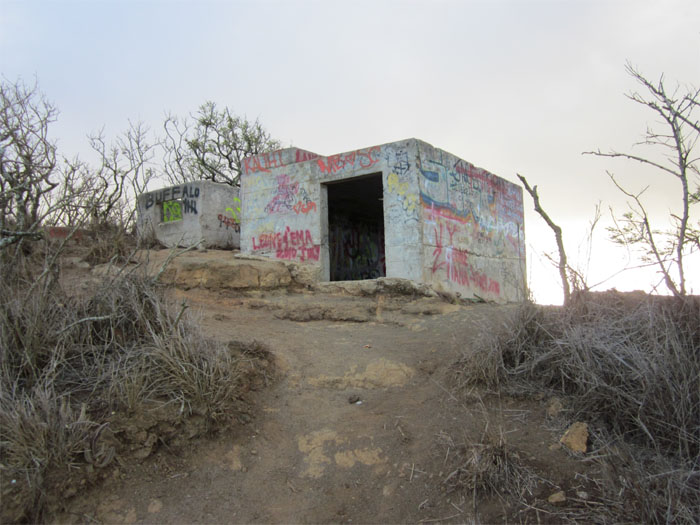 Grafitti marked observation posts